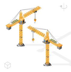 Isometric High Quality City Element with 45 Degrees Shadows on White Background. Tower Crane. Left and Right Position.