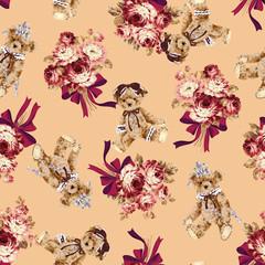 クマと花束のパターン