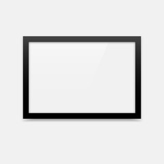 Simple black vector photo frame with landscape orientation (3x2). Horizontal photo frame empty blank mockup.