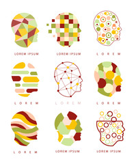 Thinking Inside Human Head Different Geometric Abstract Design Icons