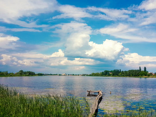 Beautiful nature, river and cloudy blue sky/Beautiful nature, river and cloudy blue sky