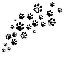 Black dog paw print vector illustration background