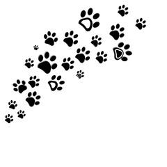 Black dog paw print vector illustration background