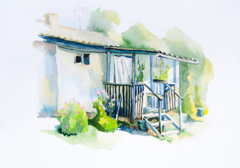 Watercolor painting farmhouse porch in the summer.