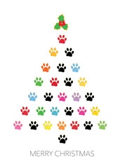 Colorful paw print reee christmas greeting card vector illustration