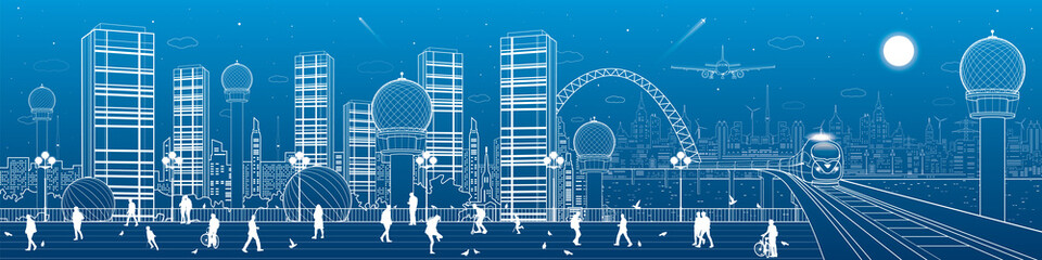 Urban and transportation panorama, office buildings and towers, train rides on the bridge, people walk on the square, city infrastructure, neon town, airplane fly, vector design art