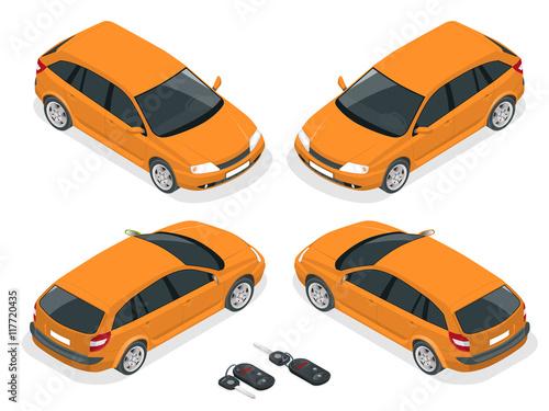 Isometric hatchback and car keys. Vector 3d flat transport. Car ...