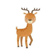 Brown Spotter Deer With Antlers Stading