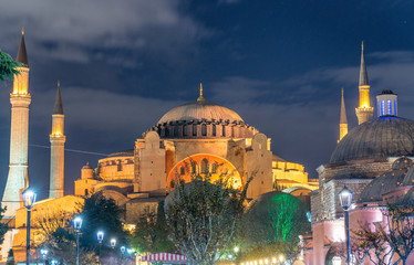 Magnificence of Hagia Sophia Museum at night, Istanbul, Turkey
