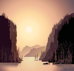 Foto auf Gartenposter Beige Sunrise in wild nature, landscape with mountains and water, taiga and forest.