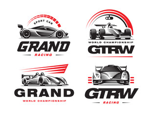 Sport cars set illustration on white background.