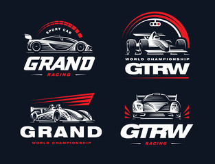 Sport cars set illustration on dark background.