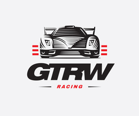 Sport car logo on white background.