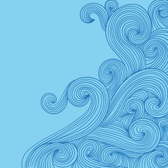 Hand drawn waves in doodle style