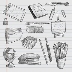 Hand drawn school elements