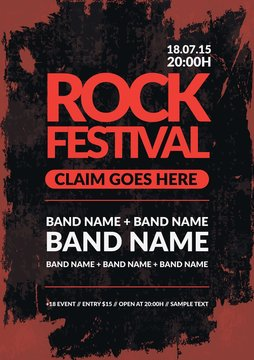 rock festival poster in grunge style