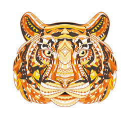 Detailed Patterned head of the tiger. African indian totem Ethnic tribal aztec design. On the grunge background. It may be used for a t-shirt, bag, postcard, poster and so. Vector illustration