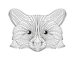 Hand drawn doodle outline raccoon illustration. Decorative in African indian totem Ethnic tribal aztec design. Sketch for adult antistress coloring page.