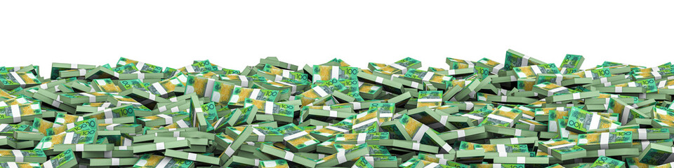 Panorama stacks Australian dollars / 3D illustration of panoramic stacks of Australian hundred dollar bills