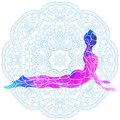 decorative colorful yoga pose over ornate round mandala pattern.