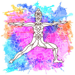 Decorative yoga pose on the abstract multicolored background with ornate round mandala pattern.