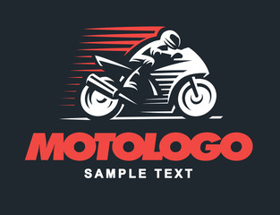 Sport motorcycle illustration on dark background
