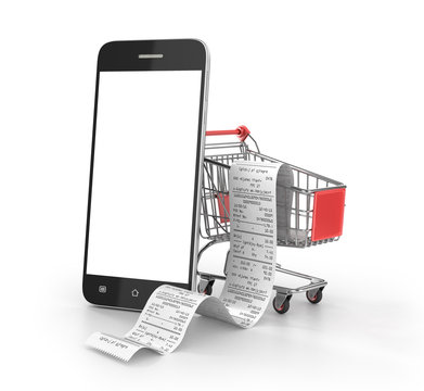 Concept of shopping. Shopping trolley with long receipts on the