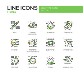 Fishes - line design icons set