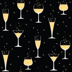 champagne glasses on black