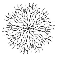 Round Ornament Pattern. Snowflakes. Vintage decorative elements.