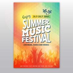 Colorful summer music festival poster