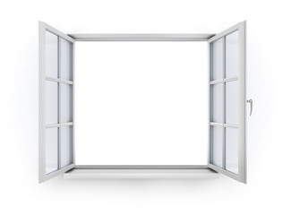 Open white wooden window