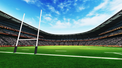 rugby stadium with green grass at daylight
