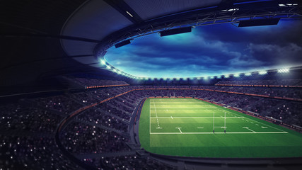 rugby stadium with fans under roof with spotlights