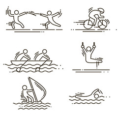 sports thin line vector icons set pictograms