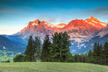 Alpine rural landscape with high snowy mountains,Grindelwald,Switzerland,Europe