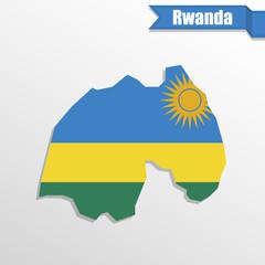 Rwanda map with flag inside and ribbon