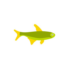 Fish icon in flat style on a white background