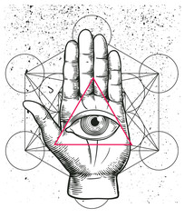 Hipster illustration with sacred geometry, hand, and all seeing eye symbol nside triangle pyramid. Eye of Providence. Masonic symbol. Grunge Esoteric spiritual ethnic mascot. t-shirt design