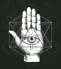 Hipster illustration with sacred geometry, hand, and all seeing eye symbol inside triangle pyramid. Masonic symbol. Stylish vintage background. Grunge Esoteric spiritual ethnic mascot. t-shirt design