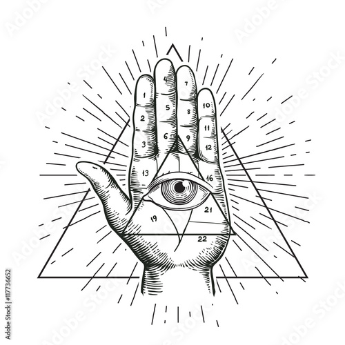 Hipster Illustration With Sunburst Hand And All Seeing Eye Symbol