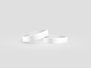 Blank white rubber wristband mockup, clipping path, 3d illustration. Clear sweat band stack mock up design. Sport sweatband pile template. Silicone fashion round social bracelet. Unity band.