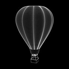 Hot air balloon. 3d Vector outline illustration.