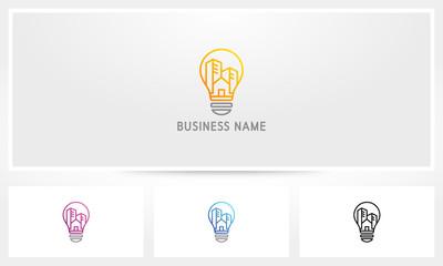 Smart City Building Lightbulb Logo