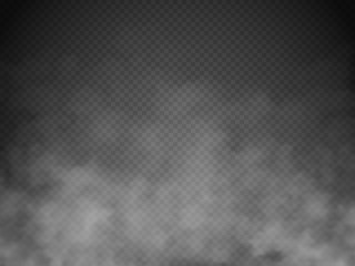 Fototapeten Rauch Fog or smoke isolated transparent special effect. White vector cloudiness, mist or smog background. Vector illustration