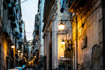 Fotobehang Napels NAPLES, ITALY - January 16, 2016 : Street view of old town in Na