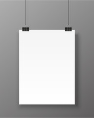 Poster template. Vector blank paper banner isolated