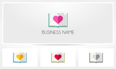Book Love Heart Logo