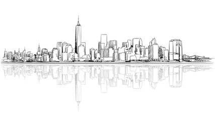 New York City Outline Sketch with Reflection