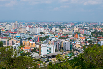 view from top of The colorful building cityscape and skyscrape in daytime in Pattaya,Thailand.
